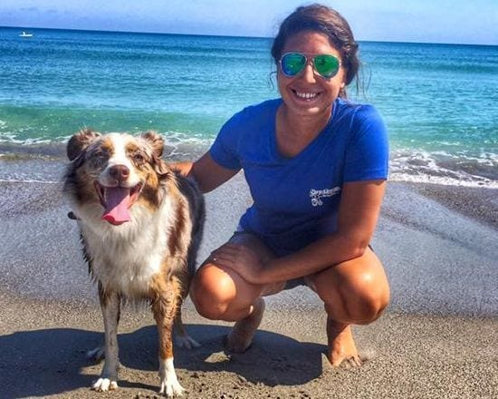 Trainer and the dog at the beach